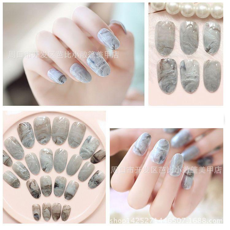 24pcs Grey Marble Fingernail Tips Middle Long False Nails Acrylic