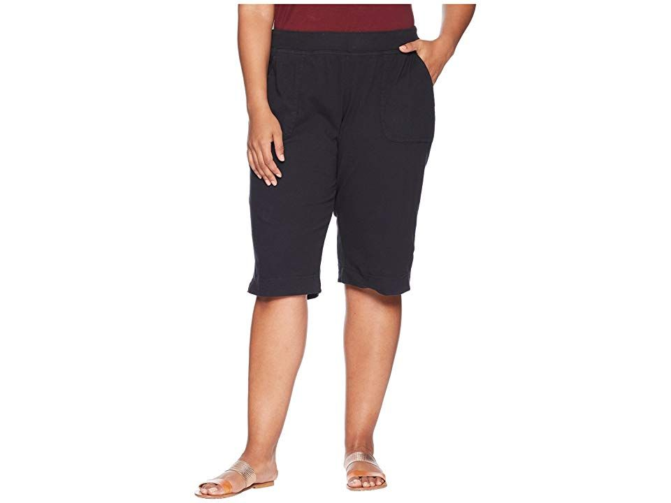 Extra Fresh by Fresh Produce Plus Size Key Largo Pedal Pusher Black Womens Shorts Easytowear clothing that fits your life Pullon pedal pusher in a cotton knit Garmentdyed...