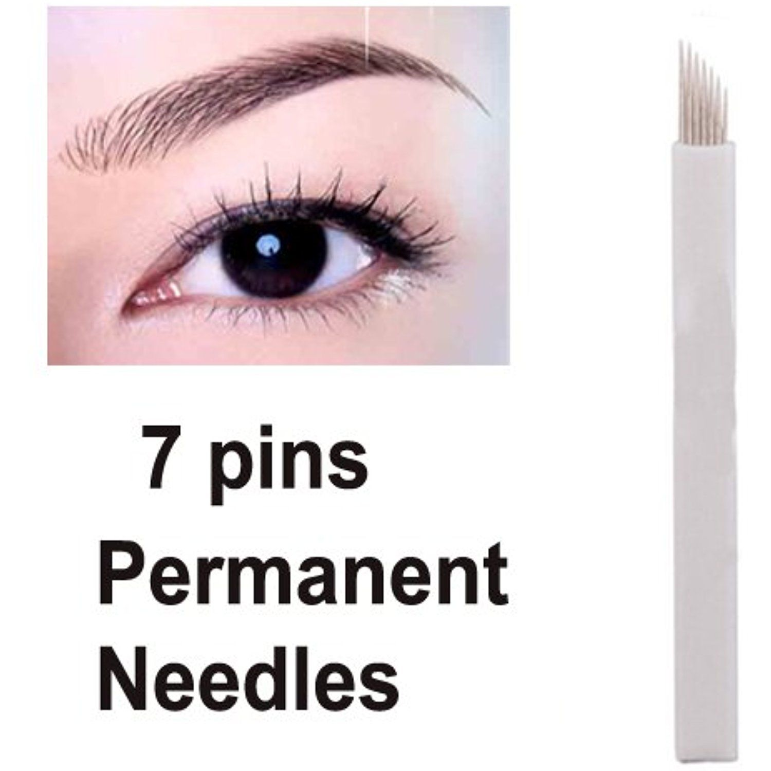 Salmony® 30 Pieces 7pin Eyebrow Permanent Makeup Needle