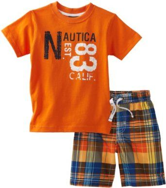 3f24077c24 Nautica Sportswear Kids Boys 2-7 Good Fit Rash Guard And Swim Trunk Set
