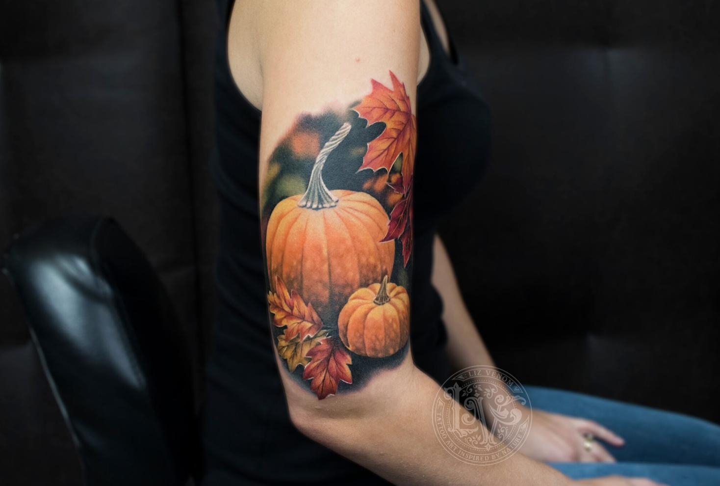 fall themed tattoo, pumpkin spice tattoos anyone