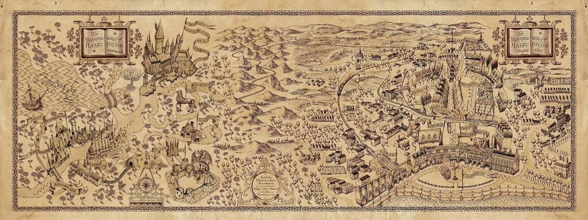 Poster Mapa Harry Potter Diseno Exclusivo 38 X 100 Cm 350 00