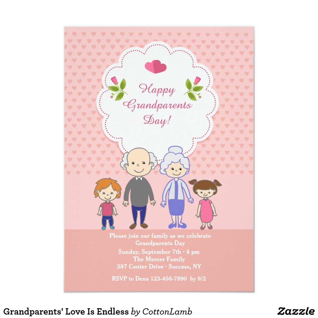 Grandparents Love Is Endless Invitation Zazzle Com Happy Grandparents Day Grandparents Card Grandparents Day