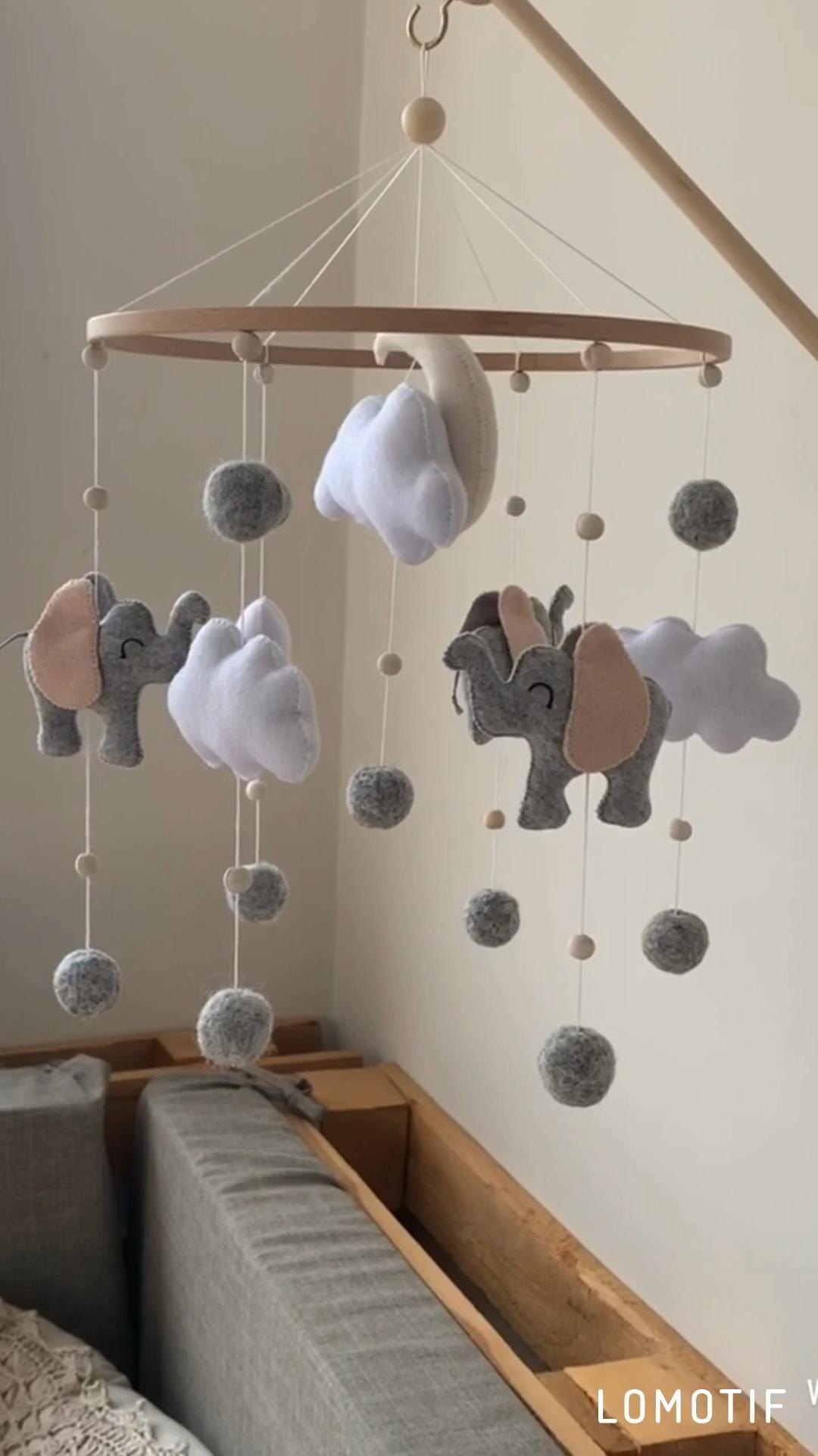 Photo of Elephant baby mobile, felt baby mobile, nursery decor