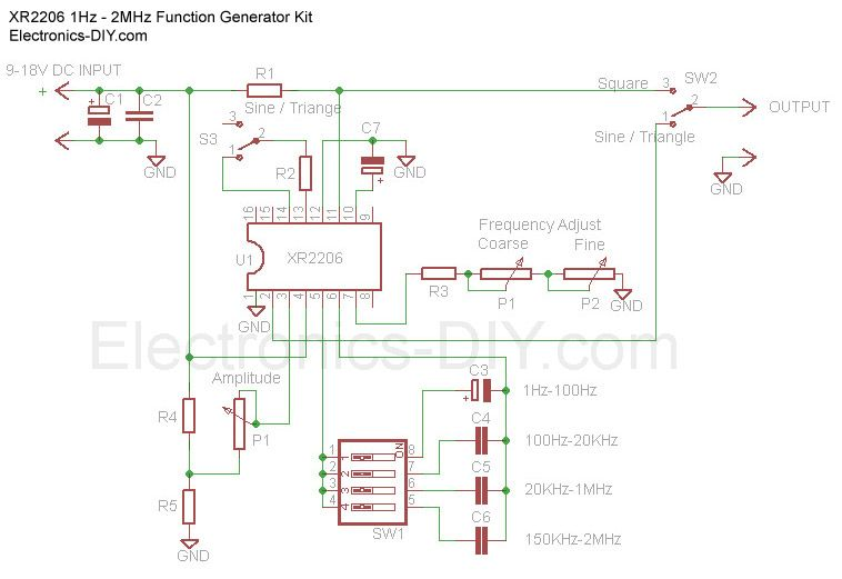Circuito Xr2206 : Hz mhz function generator with xr schematic
