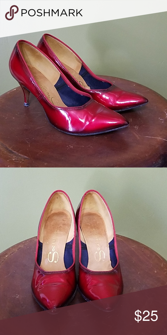 Vintage Deep Red Heels Red Heels Heels Shoes Women Heels