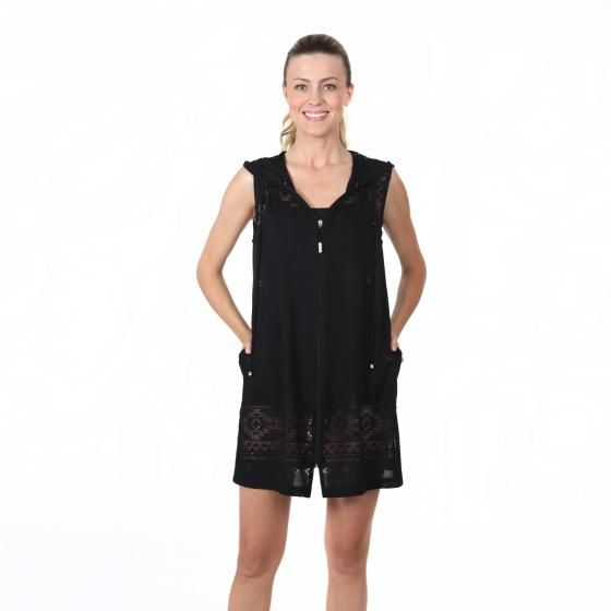 2e51bed51a73d Dotti Swimwear Cover Up Women s Hooded Zip Up. Black hooded zip up cover up.  This bathing suit cover up is sleeveless