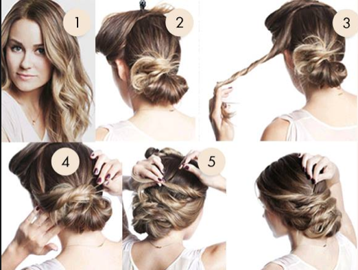 HOW TO: THE TWISTED BUN Step 1: Start with wavy hair. Step ...
