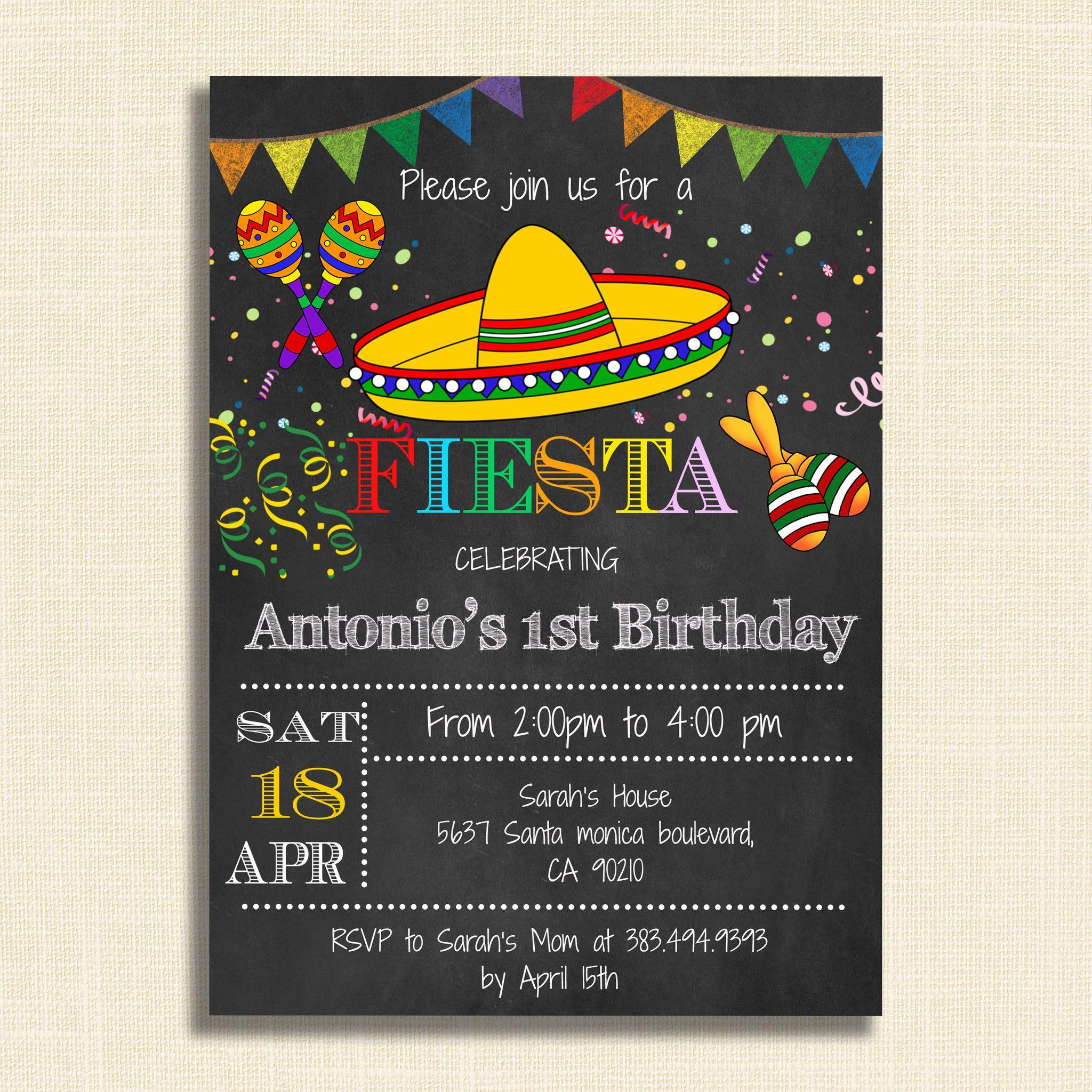 Printable Mexican Fiesta Party Invitations Diy Invitation