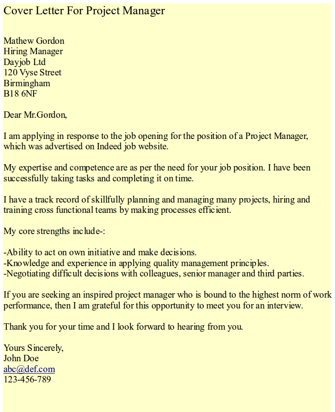 Cover Letter (Project Manager) | HipCv Resume Tips & Articles