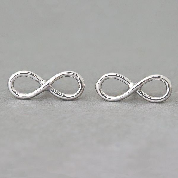 White Gold Infinity Earrings Stud From Kellinsilver Jewelry