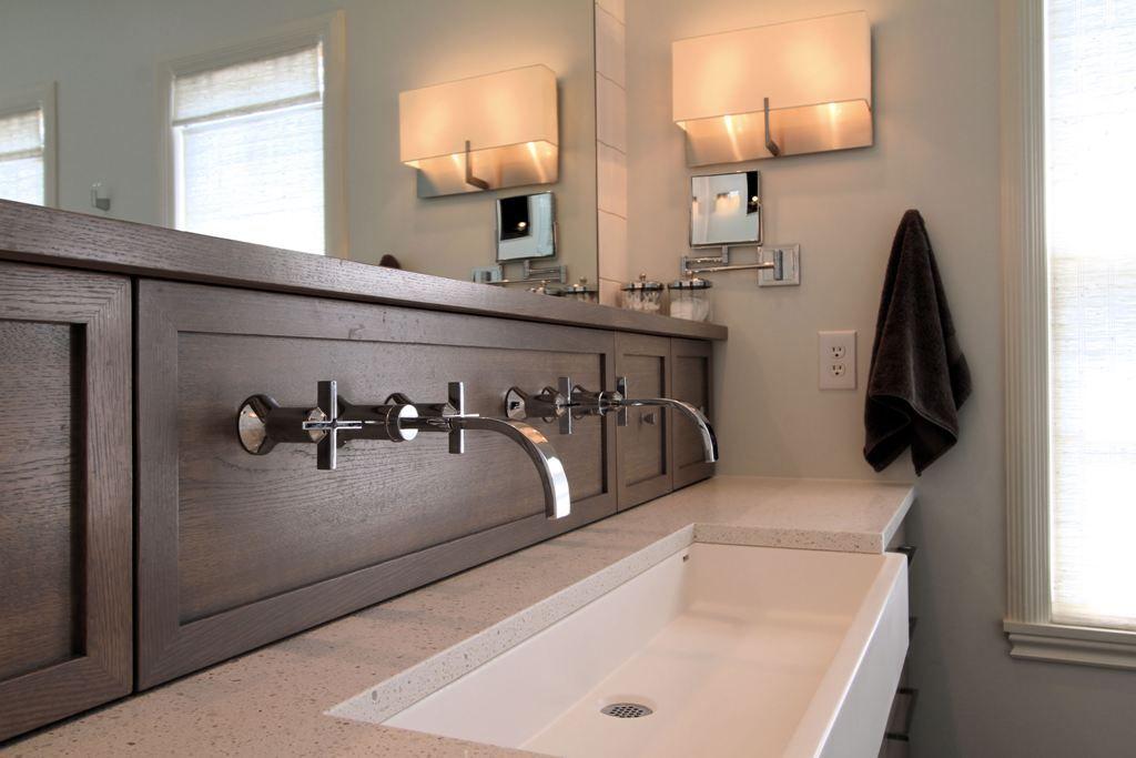 Master bath custom vanity caesarstone counter master - Custom bathroom countertops with sink ...