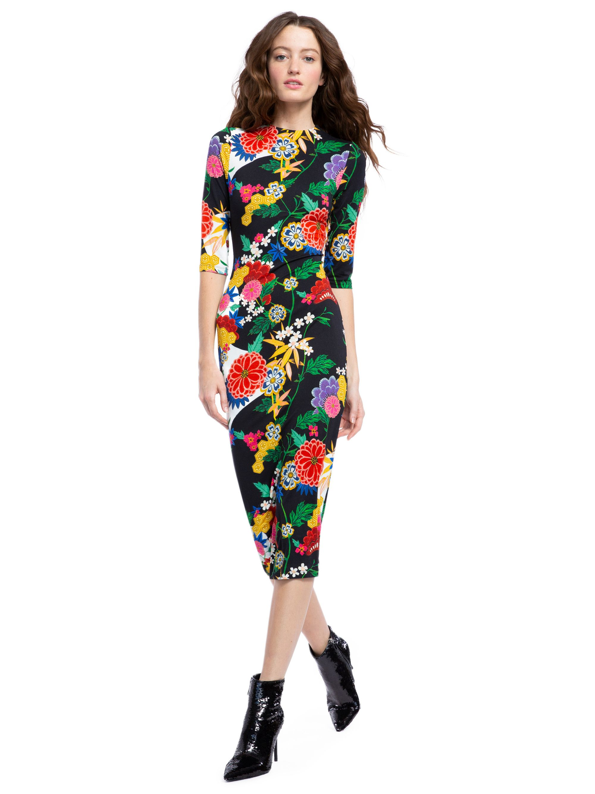 516d054afec DELORA FITTED MIDI DRESS IN VALLEY LAKE | Alice + Olivia | ALICE AND ...