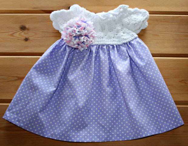 8d20f33d782 Handmade newborn baby crochet   fabric cotton dress 0 to 3 months Lilac  white pink infant dress Hand sewn baby girl clothes Baby shower gift