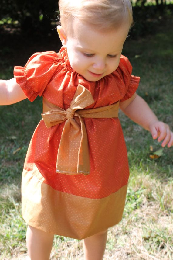 Girls Fall Peasant Dress  Orange and Gold with by amybenedetti, $40.00  Love this minus the high bow but could definitely modify :)