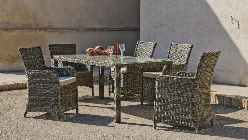Salon de jardin résine Riviera 4 places avec coussins beige foncé ...
