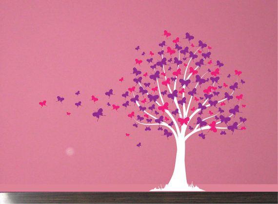 Butterfly Tree Girls Vinyl Wall Decal Sticker  sc 1 st  Pinterest & Wall Decal: Butterfly Tree Girls Vinyl Wall Art Decal Sticker ...