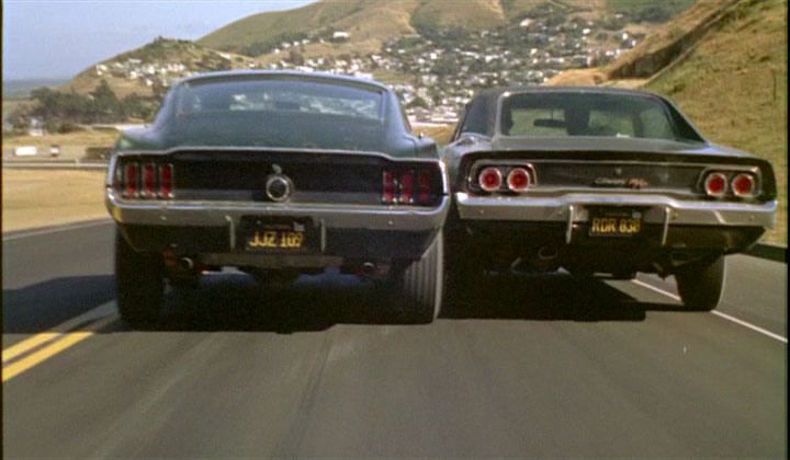 "1968 Ford mustang 390 GT and 1968 Dodge Charger in ""Bullitt"""
