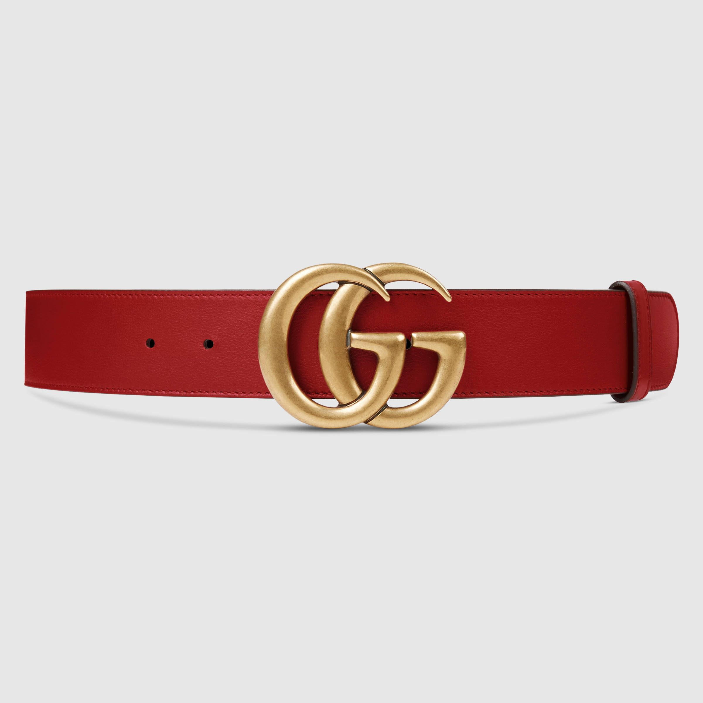 a06285dce31ba Leather belt with Double G buckle | ***GUCCI FASHION*** | Red gucci ...