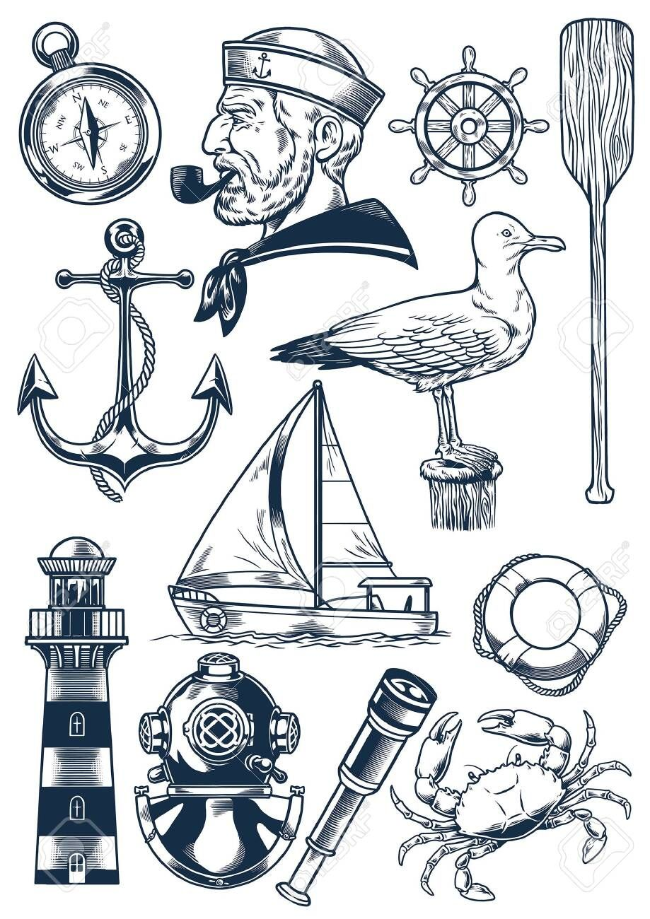 Set Of Vintage Nautical Object In Hand Drawn Style Illustration Aff Nautical Object Set Nautical Drawing Old School Tattoo Designs Vintage Nautical