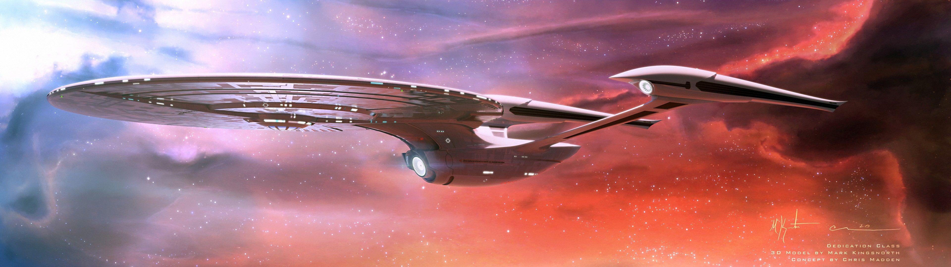 Uss Enterprise Spaceship Nebula Dual Monitors Space Star Trek Multiple Display 4k Wallpaper Hdwallpape In 2020 Star Trek Starships Uss Enterprise Star Trek Trek
