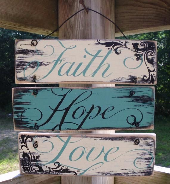 Wire hung Faith Hope and Love  sign, 12