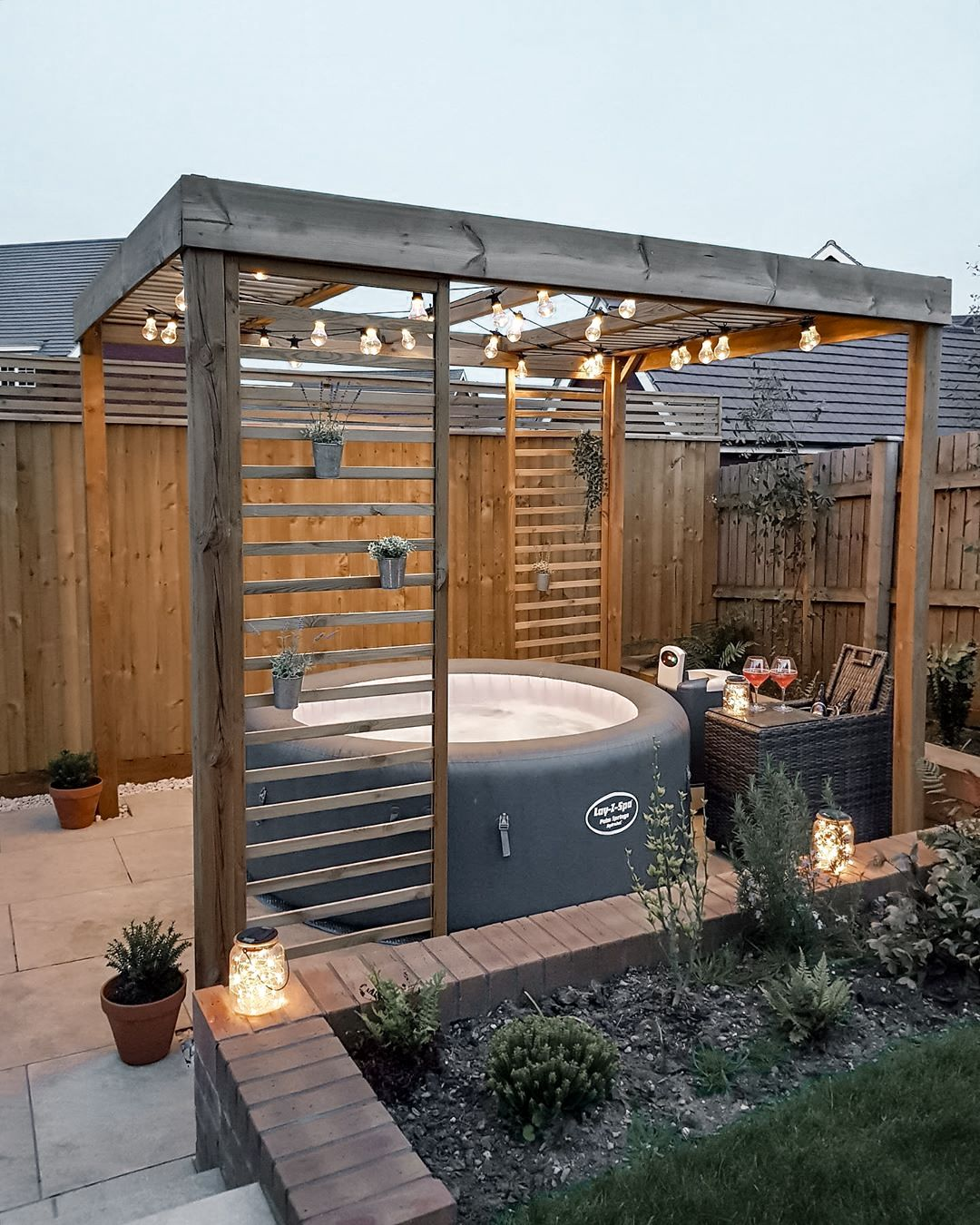 56 Ideas To Turn A Small Patio Into A Relaxing Space Hot Tub Outdoor Hot Tub Patio Hot Tub Garden