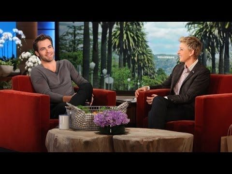 that time Ellen had Chris Pine on her show and also had his high school yearbook photo