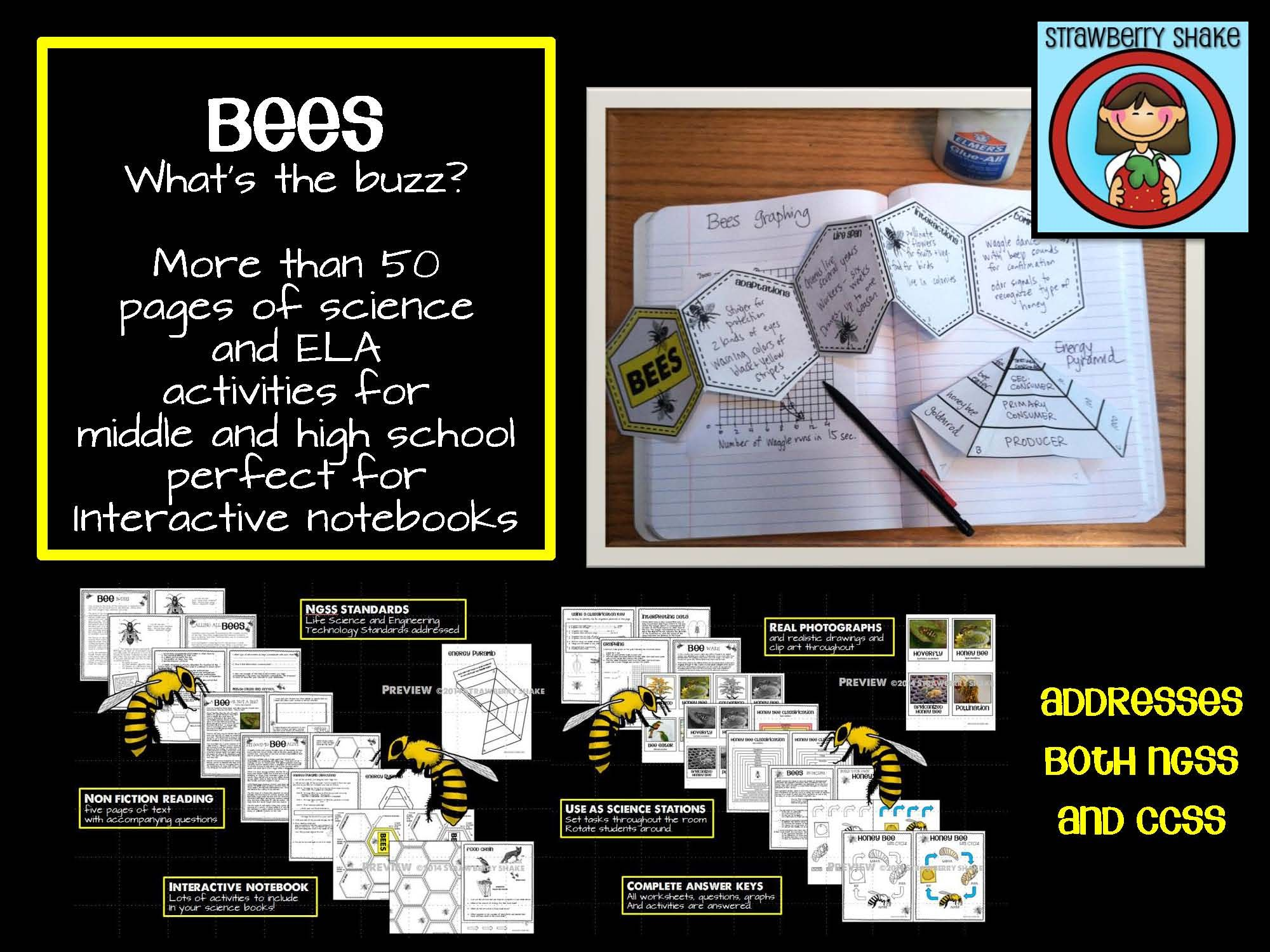 Life Science Amp Ela Non Fiction Reading And Inb Activities Bees For Ccss And Ngss