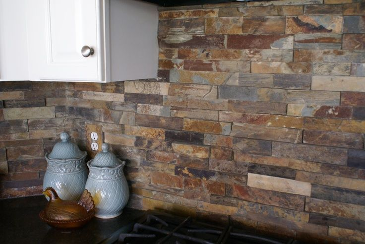 stacked slate backsplash tile