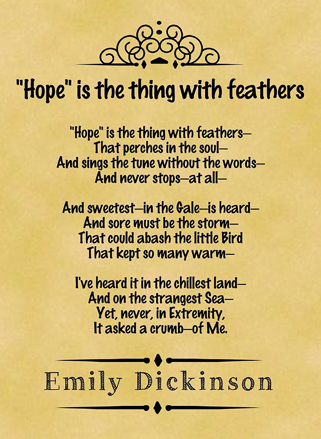 A4 Size Parchment Poster Classic Poem Emily Dickinson Hope Is The Thing With Feathers Amazon Co Classic Poems Hope Is The Thing With Feathers Dickinson Poems Poems about trust and love. a4 size parchment poster classic poem