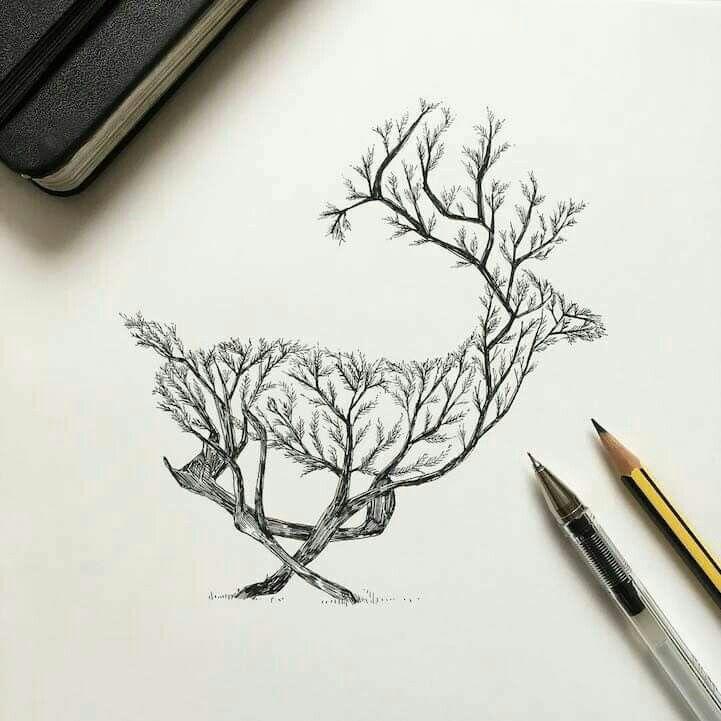 Deer Tree Pen Illustration Deer Tattoo Drawings
