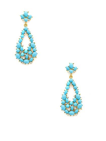 Turquoise Cabochon Teardrop Earrings by Kenneth Jay Lane