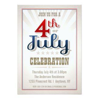"custom th of july party invitation "" x "" invitation card  star, invitation samples"