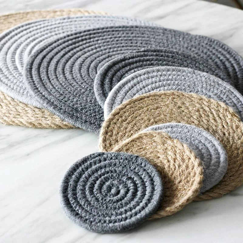 Eco Friendly Cotton Linen Woven Mats In 2020 Placemats Handmade Coasters Knitting Bowl