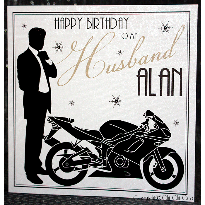 Luxurious Birthday Card Man with Motorbike – Birthday Cards Next Day Delivery