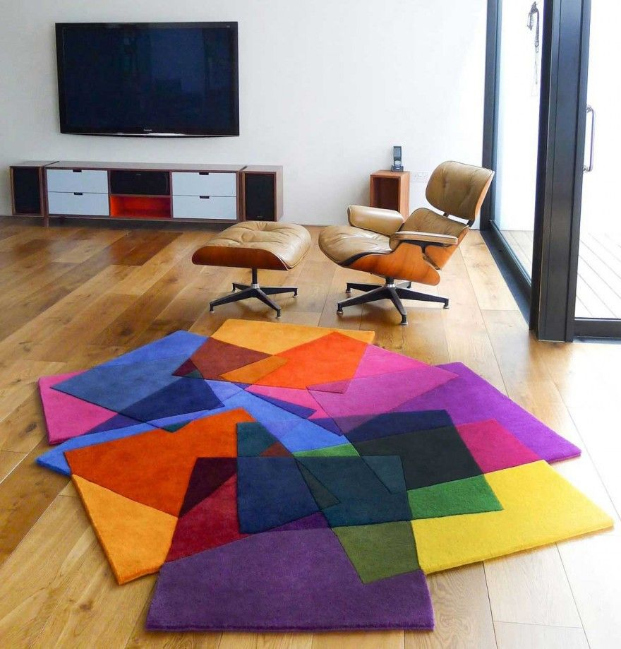 Colorful Table Area Rugs Modern Rug Combined By
