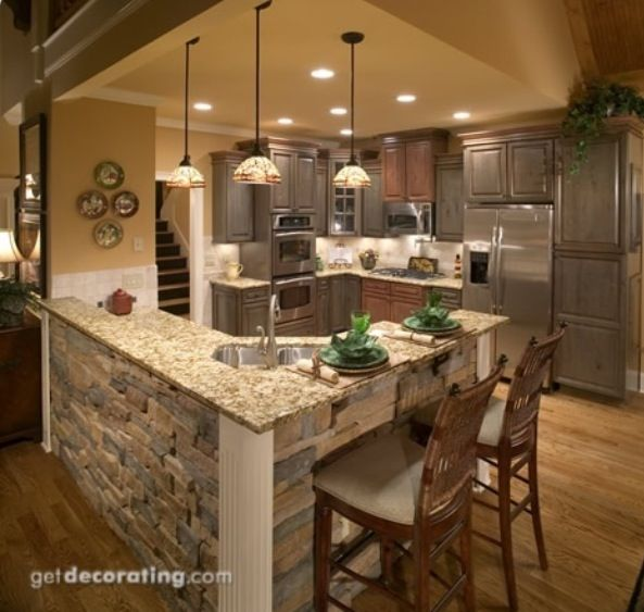 Kitchens Island Only ~ Stacked stone kitchen island i love how nature y and