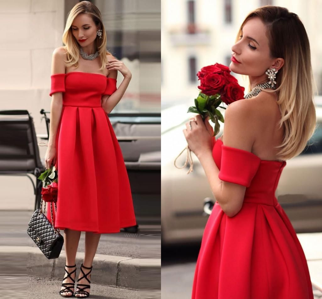 Cheap tea length prom dresses red satin off the shoulder