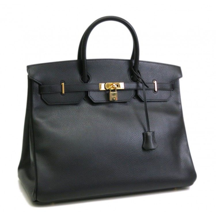 5bcb531f345 This authentic HERMES Birkin 40 Hand Bag is finely crafted from black  ardene leather and goldtone hardware. Find this bag on www.swayy.com.au