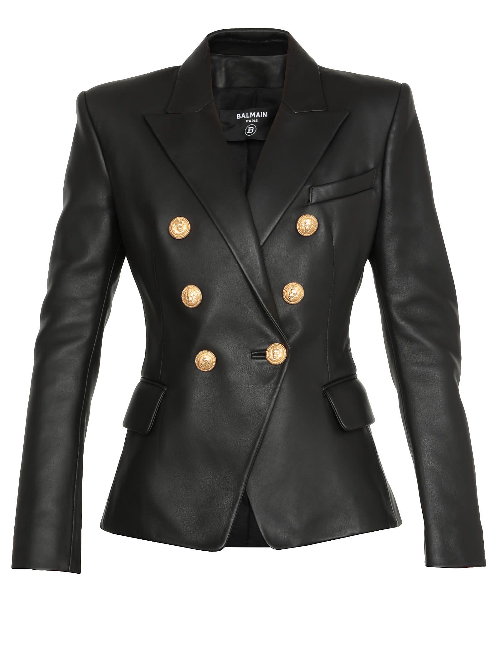 Balmain Double Breasted Leather Blazer In Black Modesens Balmain Leather Jacket Balmain Blazer Outfits Leather Blazer Women [ 2136 x 1600 Pixel ]
