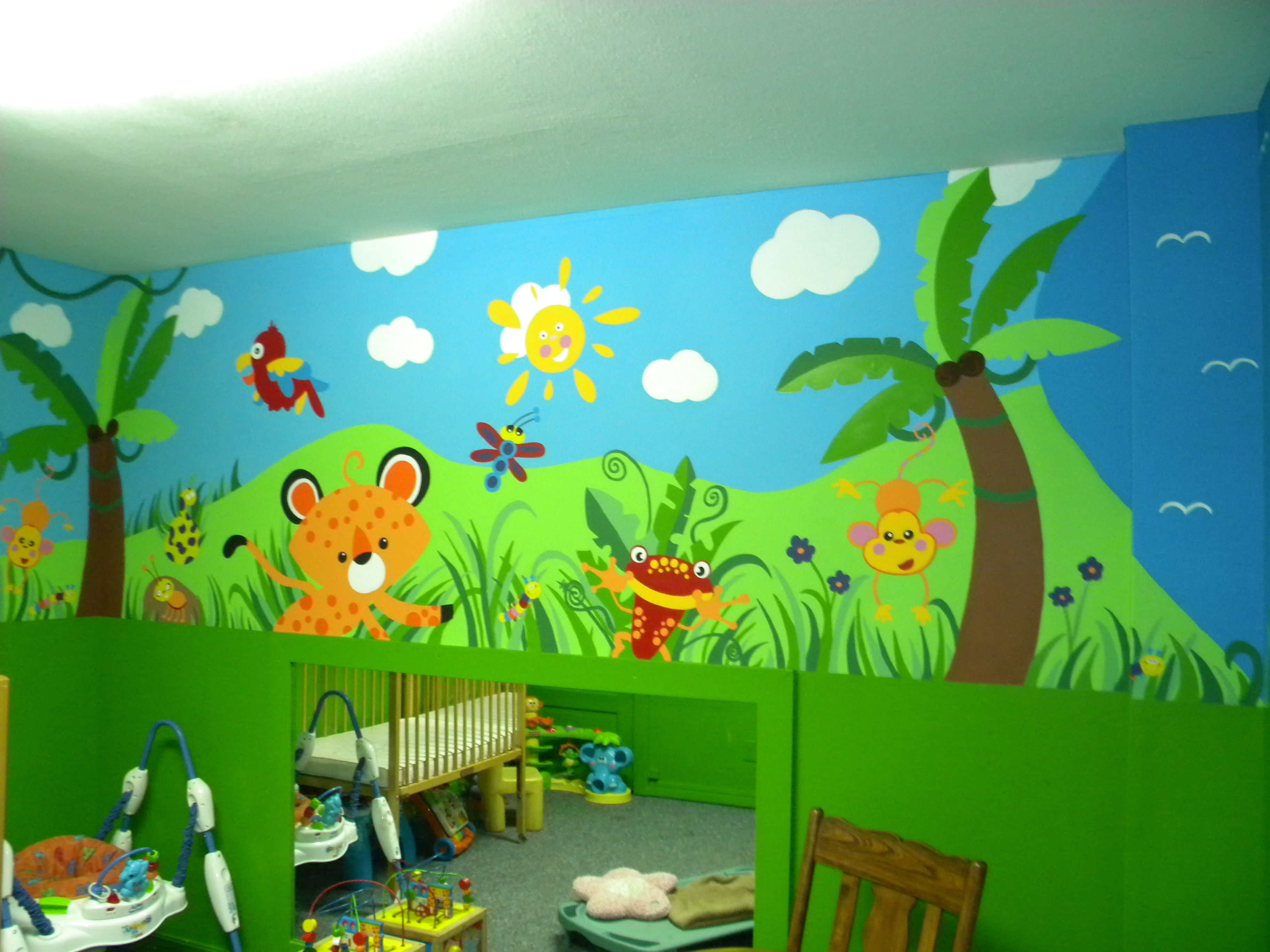 Daycare jungle mural complete wall 4 mural ideas for Children room mural