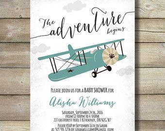 Airplane Boy Baby Shower Invite Invitation By