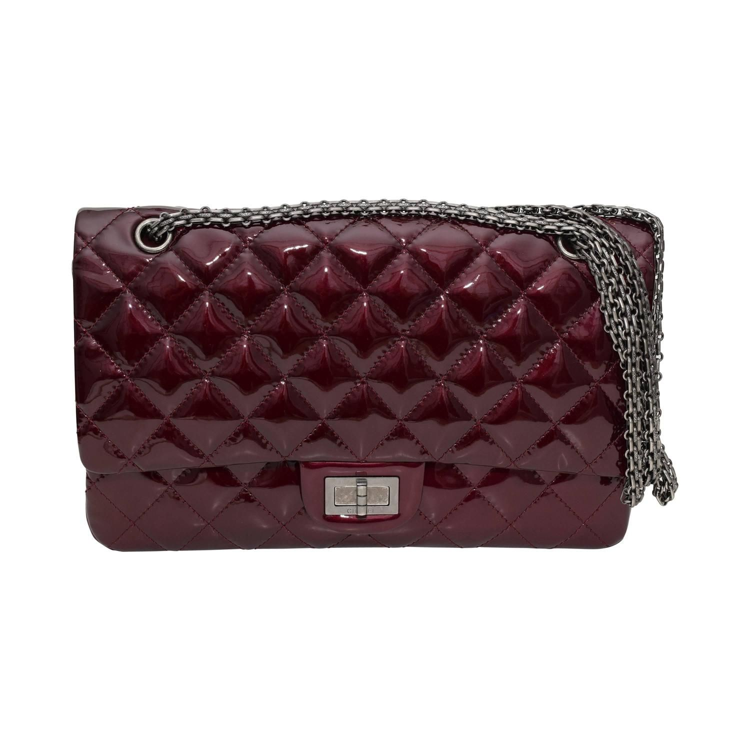 c4a893c8f48e Like New Chanel Light Burgundy patent 2.55 Reissue double Flap 227 Shoulder  Bag