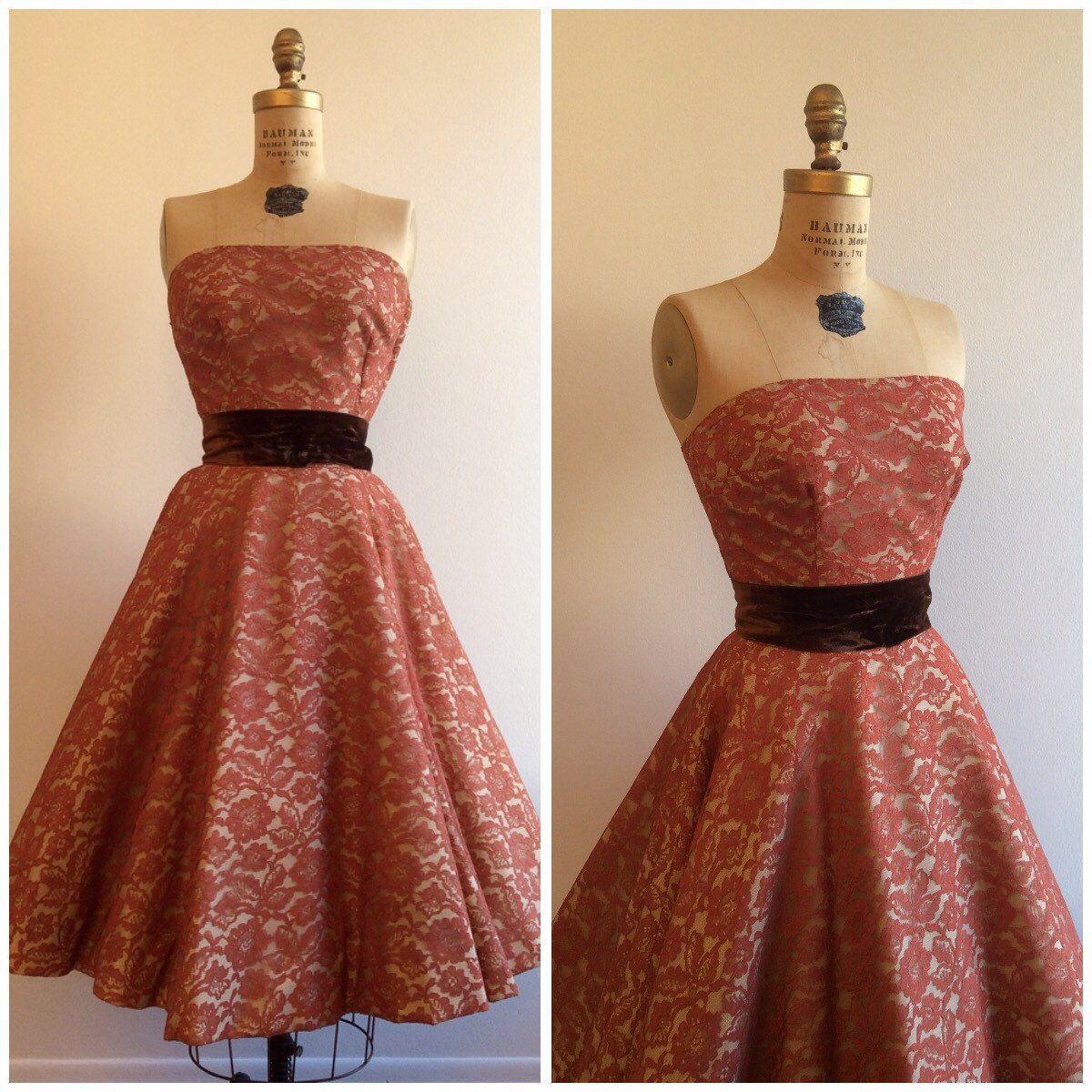 1950s lace dress  Vintage us Saks Fifth Avenue Lace Top Skirt Dress Set us