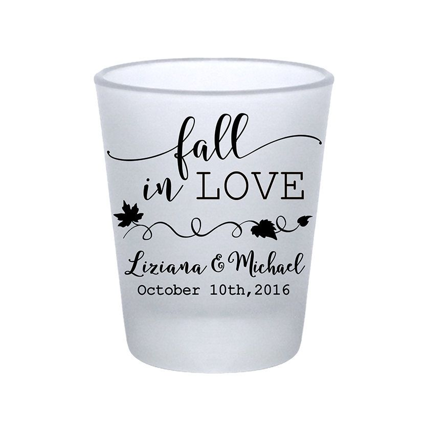 "100x Frosted Shot Glasses Fall Wedding/Autumn Wedding Favors | 1.75 oz | Fall in Love (1A) Leaves | Choose Imprint Color | by ""ThatWedShop"" on Etsy 