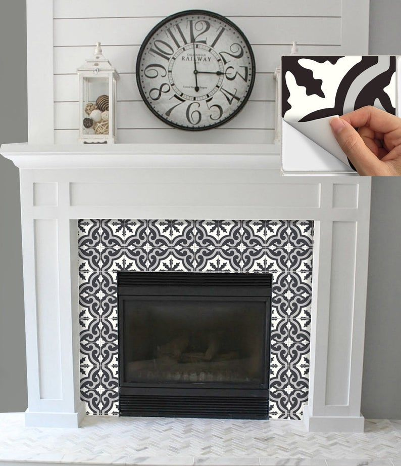 Pin By Belinda Zarate On Fireplace Colors Ideas In 2020 Tile Stickers Kitchen Fireplace Tile Surround Fireplace Tile