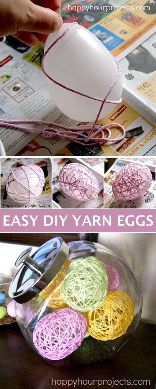 Photo of DIY Garn Ei Ostern Dekoration – Einfache DIY Bastelideen für Erwachsene für zu Hause, …