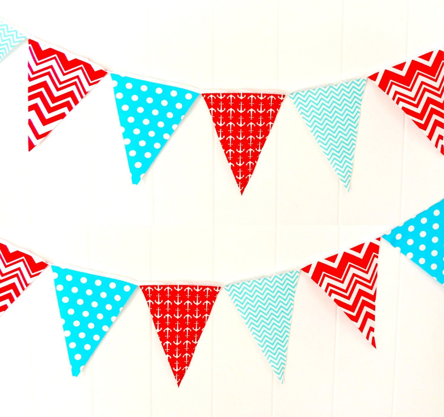 Nautical party banner bunting fabric pennant flags aqua for Nautical nursery fabric