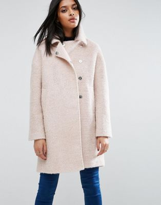 58c03a474049 ASOS Oversized Cocoon Coat with Funnel Neck in wool Mix and Boucle ...